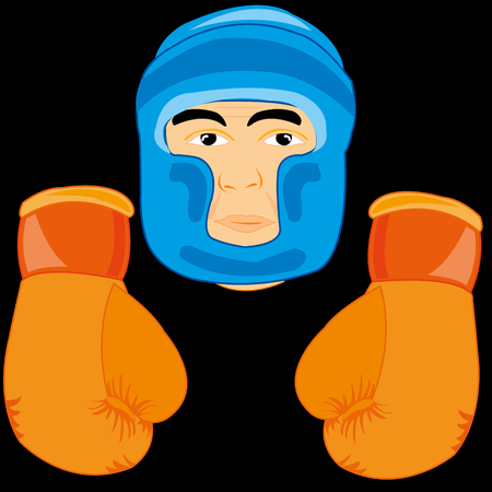 Gloves and send boxer in cartoon illustration. Иллюстрация
