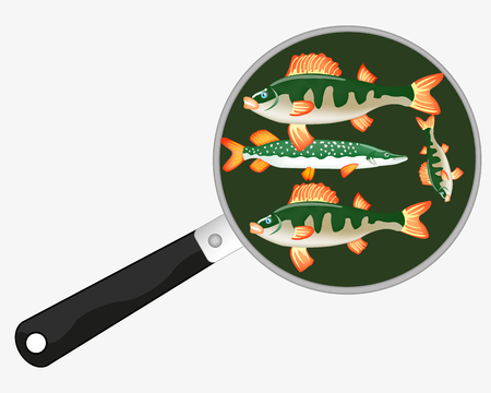 Fish on griddle on white background. Çizim