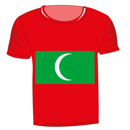 Red t-shirt with Maldives flag design