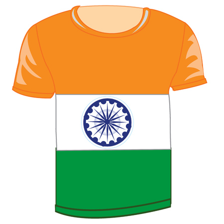 T-shirt with flag of India illustration. Illustration
