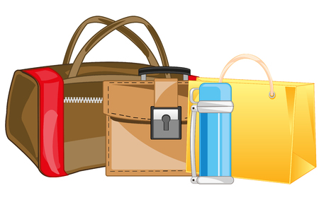 Manual load bag, package and briefcase Illustration