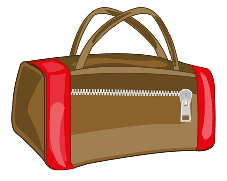 Big road bag in cartoon illustration on white background.