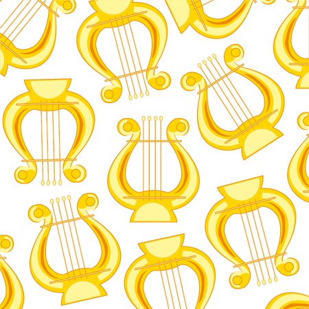 Music instrument lyre pattern on white background.