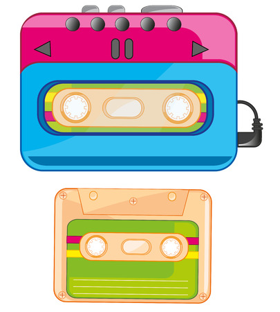 Player and cassette icon illustration on white background.