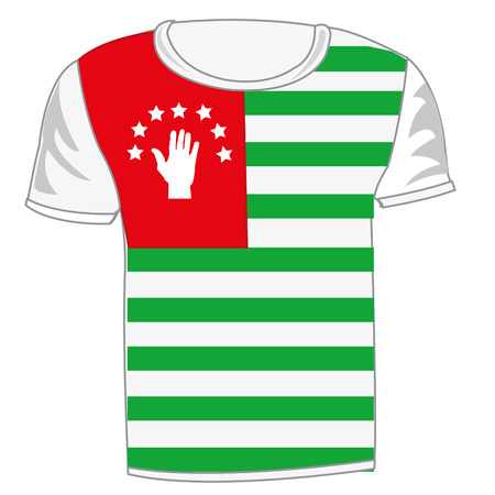 T-shirt with flag of Abhaziya illustration on wgite background. Illustration