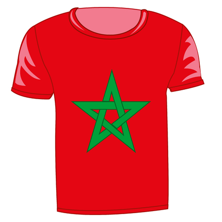 T-shirt flag Maroc on white background is insulated Illustration