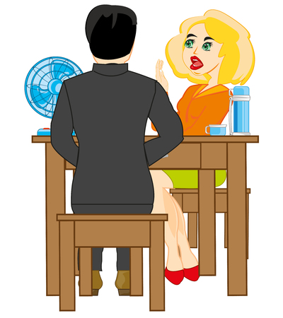 Man and woman sit at the table illustration Illustration