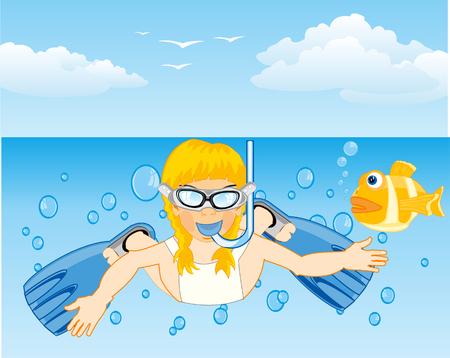 Girl dives in ocean Vector illustration.