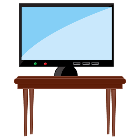 Television set on table Vector illustration.