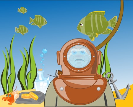 Diver on day of the ocean.Vector illustration