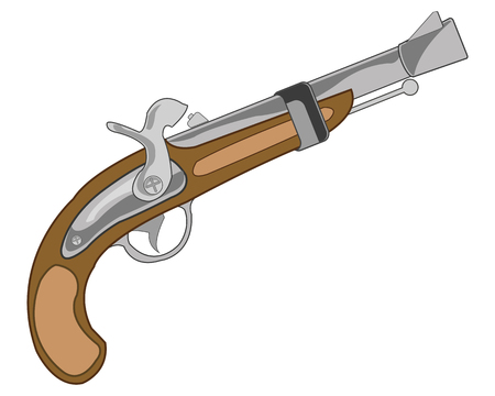 Weapon old-time gun vector illustration