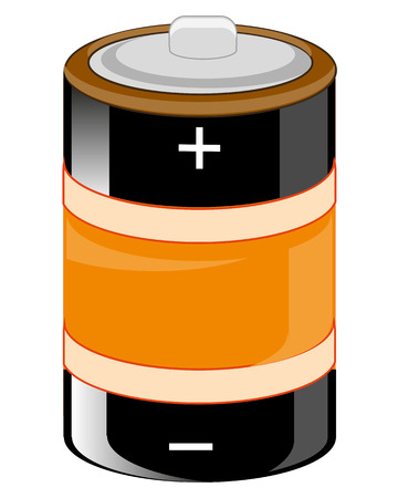 Alkaline battery of the round form on white background