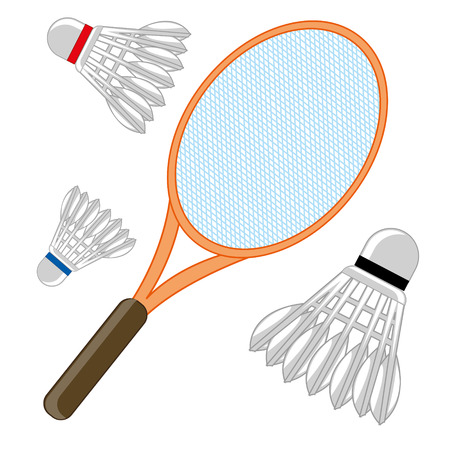 Tennis racket and shuttlecock