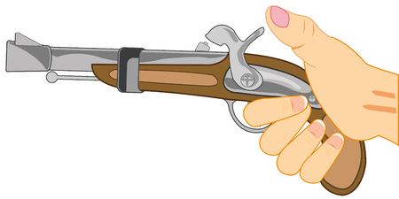 Hand with fusil gun illustration.