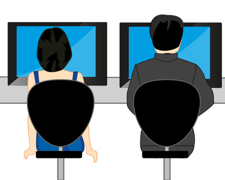 Man and woman with computer at the table