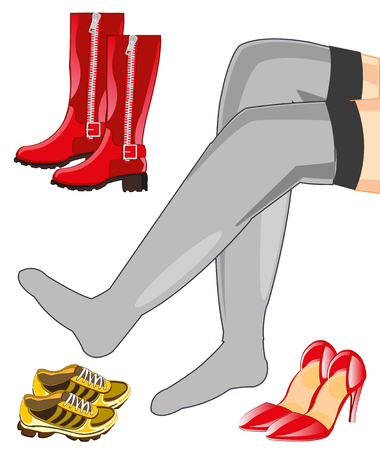 Beautiful feminine legs and footwear feminine.Vector illustration