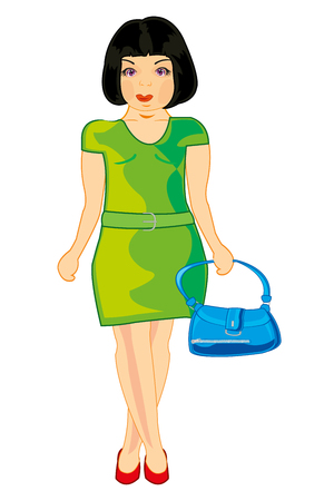 Girl with bag vector illustration