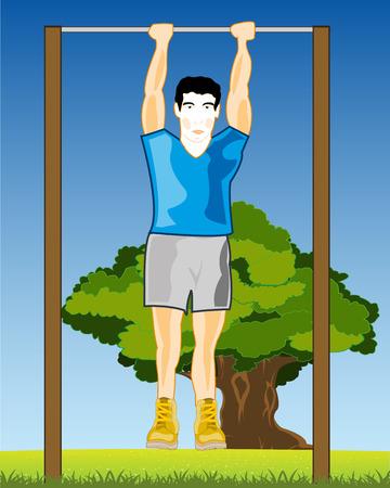 Man exercising on a horizontal bar vector illustration 向量圖像