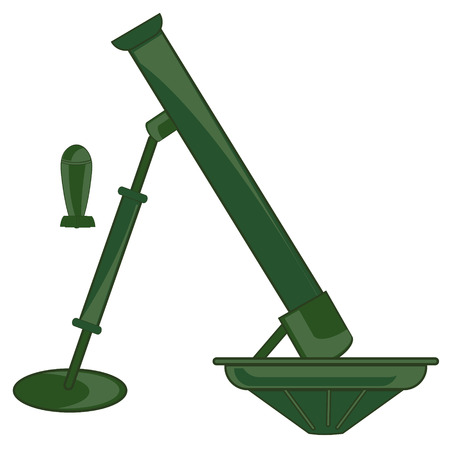 Firearm mortar and mine vector. Illustration