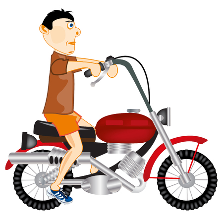 Man on motorcycle vector illustration on white background.