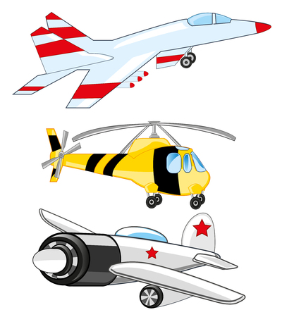 Plane, fighter and helicopter on white background is insulated