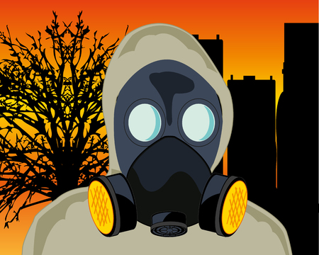 Persons in gas mask and defensive suit on background of the apocalypse