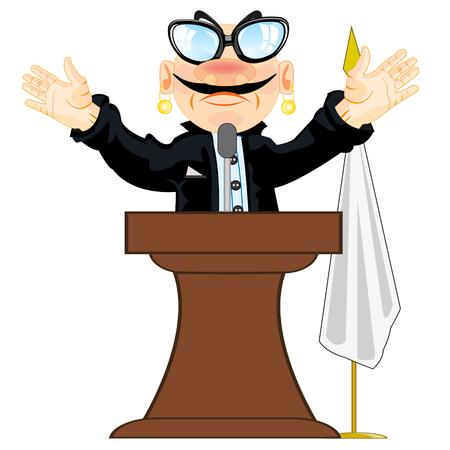 Cartoon men orator emerging on tribune.Vector illustration Illustration
