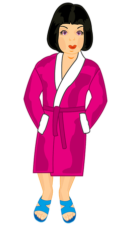 Beautiful girl in robe vector illustration.