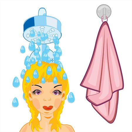 Girl takes shower
