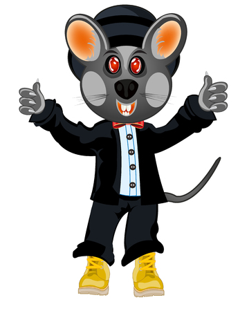 Cartoon baby mouse in suit and shoes