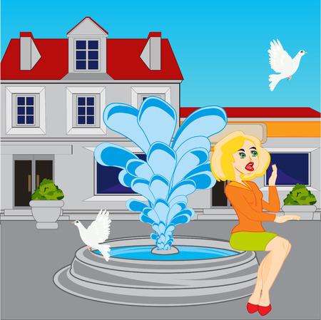 Fountain in city Illustration