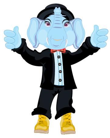 Animal elephant in suit Illustration