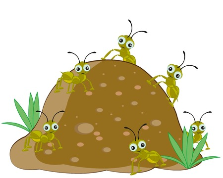 Anthill with ant Illustration