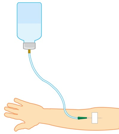 Medical instrument dropper and hand of the person Illustration