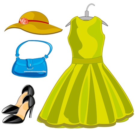 Gown,hat and other feminine belongings on white background