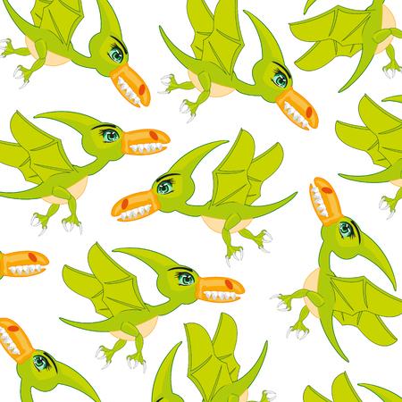 The Ancient extinct bird dinosaur pterodactyl pattern on white background. Illustration