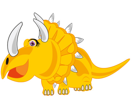Vector illustration of the ancient extinct dinosaur Eotriceratops on white background is insulated