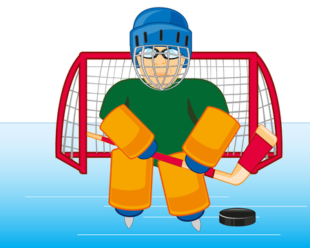 Goalkeeper hockey on winch in defensive equipment and send
