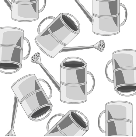 Vector illustration of the instrument for garden sprinkling can pattern