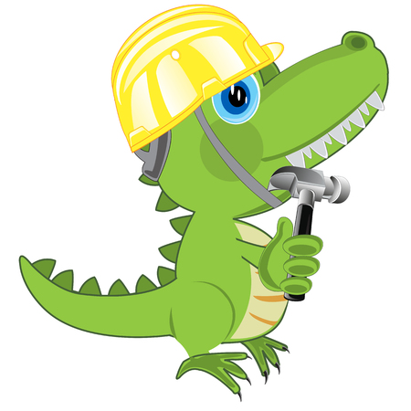 Cartoon of the dinosaur in building helmet and with gavel