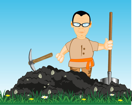 Vector illustration men digging land with shovel and pickax
