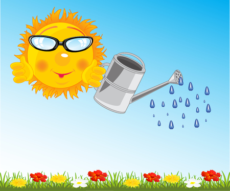 Cartoon sun with sprinkling can waterring water flower on green glade
