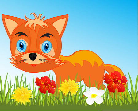 Vector illustration animal fox on year glade