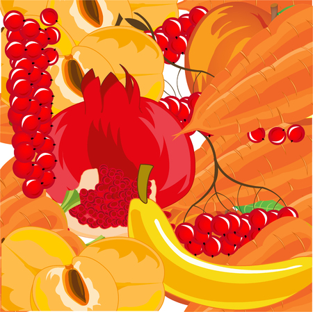 Vector illustration of the background from ripe fruit,berries and vegetables Ilustração