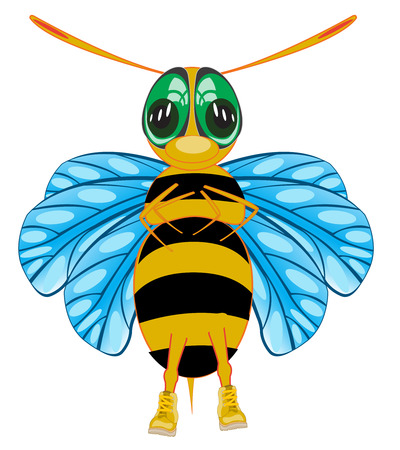 Vector illustration insect bee cartoon on white background
