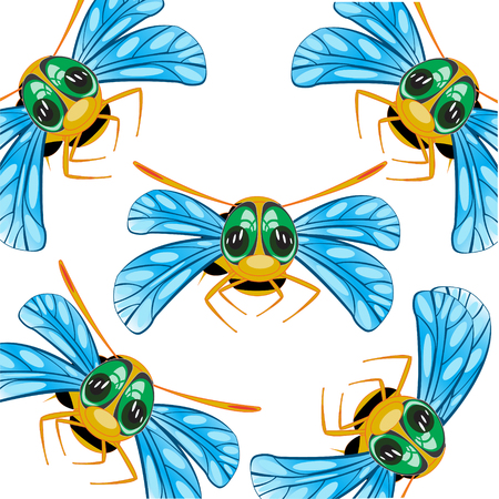Cartoon useful insect bee decorative pattern on white background