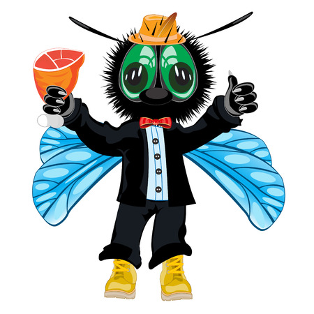 Vector illustration insect fly in fashionable suit