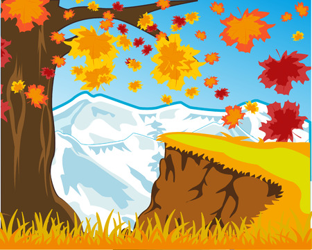 Colorful autumn landscape with falling foliage and snow mountain