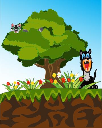 Vector illustration tree with green krona on high breakaway and animals