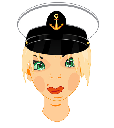 Making look younger beautiful girl in service cap of the sea captain